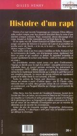 Histoire D'Un Rapt - 4ème de couverture - Format classique