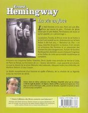 Ernest hemingway, la vie en face - 4ème de couverture - Format classique