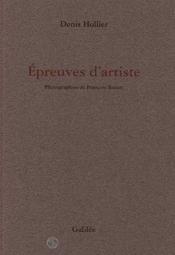 Epreuves D Artiste - Couverture - Format classique