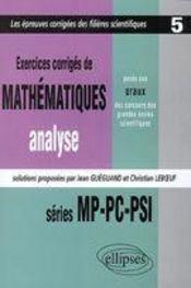 Exercices Corriges De Mathematiques Concours Scientifiques Tome 5 1997-1999 Mp-Pc-Psi Analyse - Intérieur - Format classique