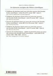 Exercices Corriges De Mathematiques Concours Scientifiques Tome 5 1997-1999 Mp-Pc-Psi Analyse - 4ème de couverture - Format classique