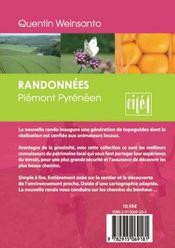 Randonnées en piémont pyrénéens ; hautes pyrénées ; gers - 4ème de couverture - Format classique