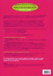 Poésies et jeux de langage ; CP, CE1 - 4ème de couverture - Format classique
