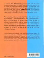 L'Hypnose Clinique La Regression En Hypnoanalyse Etudes De Cas - 4ème de couverture - Format classique