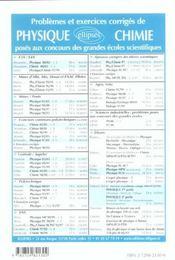 Problemes Corriges De Chimie Ens (Ulm Lyon Cachan) Tome 4 1997-2002 Filiere Pc - 4ème de couverture - Format classique