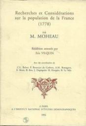 Recherches Et Considerations Sur La Population De La France - Couverture - Format classique