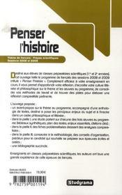 Penser l'histoire ; thème de français ; prépas scientifiques sessions 2008 et 2009 - 4ème de couverture - Format classique