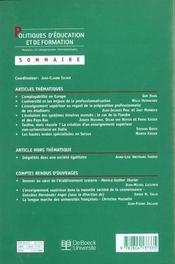 Politiques D'Education Et De Formation 2001/2 - 4ème de couverture - Format classique