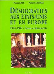 Democratie Aux Etats-Unis Et En Europe 1918-1989 Textes Et Documents Regards Sur L'Histoire 135 - Intérieur - Format classique