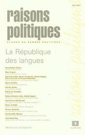 Revue Raisons Politiques N.2 ; La République Des Langues - Intérieur - Format classique