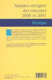 Prepa. kine.-biologie 2001 - 4ème de couverture - Format classique