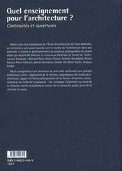 Quel Enseignement Pour L'Architecture ? - 4ème de couverture - Format classique