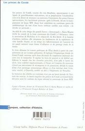 Princes De Conde (Les) Ancienne Edition - 4ème de couverture - Format classique