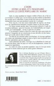 L'Ogre Entre Le Reel Et L'Imaginaire Dans Le Conte Populaire Du Maroc - 4ème de couverture - Format classique