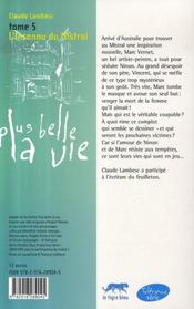 Plus belle la vie t.5 ; l'inconnu du mistral - 4ème de couverture - Format classique