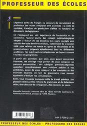 L'Epreuve Ecrite De Francais Concours Externe Note De Synthese Analyse De Production D'Eleve - 4ème de couverture - Format classique