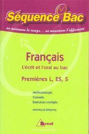 L'ecrit et l'oral au bac - Intérieur - Format classique