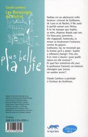 Plus belle la vie t.6 ; les mensonges du mistral - 4ème de couverture - Format classique