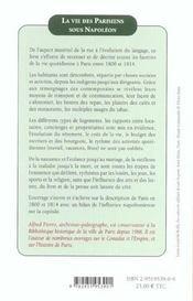 La Vie Des Parisiens Sous Napoleon - 4ème de couverture - Format classique