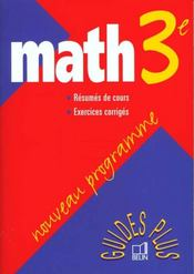 Vente livre :  Math 3e guide plus 99  - Boursin