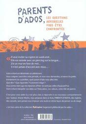 Parents d'ados. les questions auxquelles vous etes confrontes - 4ème de couverture - Format classique