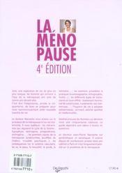 4e Edt La Menopause - 4ème de couverture - Format classique