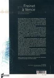 Freinet à Vence ; vers une reconstruction de la forme scolaire - 4ème de couverture - Format classique