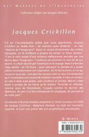 Crickillon ; Oeuvres Choisies - 4ème de couverture - Format classique