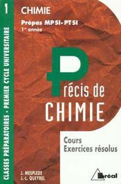 Precis de chimie t.1 ; mpsi ptsi - Intérieur - Format classique
