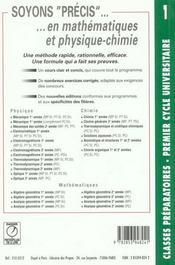 Precis de chimie t.1 ; mpsi ptsi - 4ème de couverture - Format classique