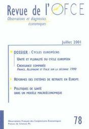 Revue De L'Ofce N.78 ; Juillet 2001 - Intérieur - Format classique