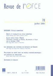 Revue De L'Ofce N.78 ; Juillet 2001 - 4ème de couverture - Format classique