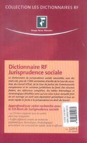 Jurisprudence Sociale - 4ème de couverture - Format classique