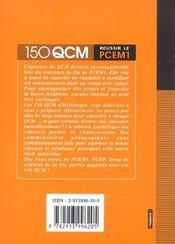Histologie Reussir Le Pcem 1 Serie Qcm - 4ème de couverture - Format classique