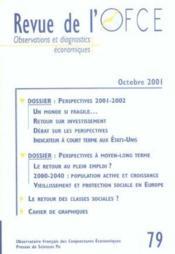 Revue De L'Ofce ; Octobre 2001 - Couverture - Format classique