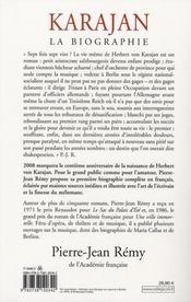 Karajan la biographie - 4ème de couverture - Format classique