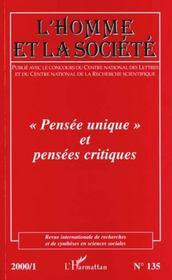 Revue Internationale De Recherches Et De Syntheses En Sciences Sociales N.135 ; Pensee Unique Et Pensees Critiques - Intérieur - Format classique