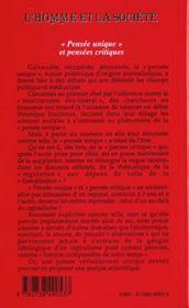Revue Internationale De Recherches Et De Syntheses En Sciences Sociales N.135 ; Pensee Unique Et Pensees Critiques - 4ème de couverture - Format classique
