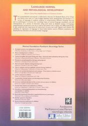 Language : normal and panthological development - 4ème de couverture - Format classique
