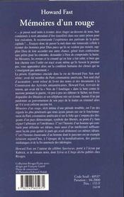 Memoires D'Un Rouge - 4ème de couverture - Format classique