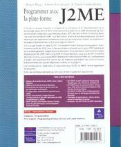 Programmer Avec La Plateforme J2me - 4ème de couverture - Format classique