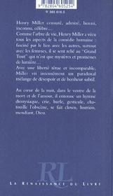 Henri Miller ; Ou Le Choc Du Sexe - 4ème de couverture - Format classique