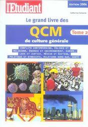 Le Grand Livre Des Qcm De Culture Generale T.2 (2006) - Intérieur - Format classique