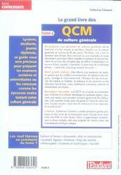 Le Grand Livre Des Qcm De Culture Generale T.2 (2006) - 4ème de couverture - Format classique