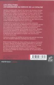 Les zeolithes, un nanomonde au service de la catalyse - 4ème de couverture - Format classique