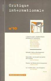 Revue Critique Internationale N.10 - Couverture - Format classique
