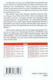 Votre Signe Astrologique Chinois ; Chat ; Previsions 2002 - 4ème de couverture - Format classique