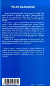 Parlons Bourouchaski ; Etat Present Sur La Culture Et La Langue Des Bourouchos - 4ème de couverture - Format classique