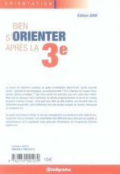 Bien choisir son orientation apres la 3ème (édition 2008) - 4ème de couverture - Format classique