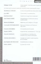 Spiritualites et mondialisation - 4ème de couverture - Format classique